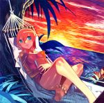 00s 1girl :d bare_legs barefoot blue_eyes coast collarbone dress evening feet hammock horizon looking_at_viewer luna_(mujin_wakusei_survive) lying mujin_wakusei_survive ocean omake3213 on_back open_mouth orange_hair red_dress shore short_hair smile soles solo sun sunset thighs toes water
