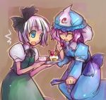 2girls blue_eyes cake closed_eyes cosmic_chicken cup female food fruit hat inuinui konpaku_youmu lowres mob_cap multiple_girls pastry pink_hair plate saigyouji_yuyuko short_hair strawberry teacup touhou triangular_headpiece