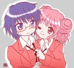 2girls blush glasses hidamari_sketch hiro kairakuen_umenoka multiple_girls one_eye_closed pink_eyes pink_hair purple_hair sae short_hair violet_eyes wink yuri