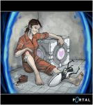 1girl aperture_science_handheld_portal_device barefoot brown_hair cake chell cube dirty_feet feet food heart jesse_mcgibney jumpsuit pastry ponytail portal portal_(object) sleeves_rolled_up smile solo valve weighted_companion_cube