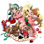 3girls :d ;d arms_up beret blonde_hair blush chains character_request cheering chibi full_body green_eyes green_hair hat hizuki_yayoi long_hair looking_at_viewer low-tied_long_hair multiple_girls one_eye_closed open_mouth pink_hair ponytail short_hair smile source_request tied_hair twintails very_long_hair violet_eyes wrist_cuffs