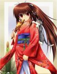 brown_hair cat fan furisode japanese_clothes kimono little_busters! long_hair na-ga natsume_rin red_eyes