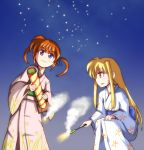2girls aerial_fireworks blonde_hair fate_testarossa fireworks japanese_clothes kimono lowres lyrical_nanoha mahou_shoujo_lyrical_nanoha mahou_shoujo_lyrical_nanoha_a's mahou_shoujo_lyrical_nanoha_strikers multiple_girls redhead sky sparkler star_(sky) starry_sky takamachi_nanoha twintails violet_eyes white_devil you're_doing_it_wrong