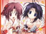 2girls chibi fang japanese_clothes leaf maple_leaf miko minigirl multiple_girls puppet tenmu_shinryuusai