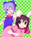 2girls animal_ears blue_dress blue_eyes blue_hair blush bow brown_hair carrot carrot_necklace circle cirno dress female green_background hair_bow inaba_tewi jewelry looking_at_viewer mei multiple_girls no_wings one_eye_closed open_mouth patterned pendant pink_dress puffy_short_sleeves puffy_sleeves rabbit_ears red_ribbon ribbon short_hair short_sleeves subaru_(yachika) touhou upper_body violet_eyes