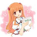 1girl book open_mouth orange_hair original red_eyes sakura_koharu sketch smile solo upper_body