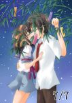 brown_hair kiss kokonogi_kisara kyon school_uniform serafuku short_hair suzumiya_haruhi suzumiya_haruhi_no_yuuutsu tanabata tanzaku
