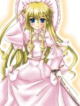aizen_tiriel blonde_hair blue_eyes dress frills gloves hat long_hair piku shakugan_no_shana sword tyrael_(shakugan_no_shana) weapon