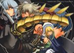 .hack// .hack//g.u. 00s 2005 2boys 2girls atoli atoli_(.hack//) bandai blonde_hair blue_eyes blue_hair cyber_connect_2 detached_sleeves elbow_gloves gloves grey_eyes grey_hair haseo haseo_(.hack//) hat morita_yuzuka multiple_boys multiple_girls official_art ovan ovan_(.hack//) red_eyes shino_(.hack//) short_hair silver_hair spiky_hair staff strap sunglasses sword tattoo weapon yellow_eyes