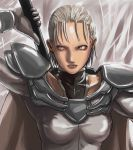 1girl armor blonde_hair claymore claymore_(sword) face grey_eyes jean solo sword tea_(nakenashi) weapon