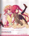 2girls :d akihime_sumomo alastor_(shakugan_no_shana) black_legwear blush itou_noiji jewelry loafers looking_at_viewer multiple_girls nanatsuiro_drops open_mouth pendant red_eyes redhead school_uniform serafuku shakugan_no_shana shana shoes short_hair simple_background smile tareme thigh-highs white_background yoshida_kazumi yuki-chan zettai_ryouiki