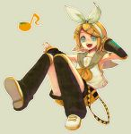 1girl arm_warmers blonde_hair blue_eyes hair_ornament hair_ribbon hairclip hand_on_headphones headphones headset kagamine_rin leg_warmers musical_note nail_polish open_mouth orange_nails quaver ribbon sailor_collar short_hair shorts simple_background solo treble_clef vocaloid yellow_nails yonko