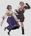 1boy 1girl act_(a_moso) blonde_hair bra_strap brown_hair detached_sleeves final_fantasy final_fantasy_x hakama hakama_skirt highres holding_hands japanese_clothes jewelry long_skirt looking_at_another necklace print_hakama simple_background skirt smile tidus wide_sleeves yuna_(ff10)