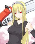 blonde_hair chainsaw dress gloves hime_(kaibutsu_oujo) kaibutsu_oujo lowres luisu red_eyes tiara