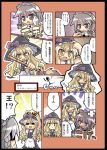 2girls :< :d ;) ;d =_= bamboo_broom blonde_hair border bow braid broom comic crown dagger female grey_eyes hair_bow hat hat_bow herada_mitsuru holding izayoi_sakuya kirisame_marisa knife long_hair maid maid_headdress master_spark multiple_girls one_eye_closed open_mouth short_hair silver_hair smile speech_bubble star touhou translated twin_braids violet_eyes weapon white_background wink witch_hat yellow_eyes