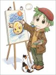 00s 1girl azuma_kiyohiko beret bird bubble bubble_blowing canvas canvas_(object) cat child child_drawing crayon easel green_eyes green_hair hat koiwai_yotsuba looking_at_viewer lowres ninin_ga_shinobuden onsokumaru pipe quad_tails short_hair simple_background soap_bubbles solo white_background yotsubato!