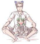 2k-kun 2k-kun_(cosplay) 2k-tan child cosplay crossover jumbo koiwai_yotsuba me-tan me_(cosplay) os-tan parody quad_tails sketch yotsubato!