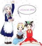 3girls alice_margatroid alice_margatroid_(cosplay) animal_ears apron bangs black_hair blonde_hair blue_dress blue_eyes bobby_socks book bow bowtie braid cat_ears chen chen_(cosplay) cherry_blossoms cosplay crossover dress english grey_hair hair_ribbon hairband hat ichigo_mashimaro indian_style itou_chika izayoi_sakuya izayoi_sakuya_(cosplay) kashmir knife legs loafers maid maid_apron maid_headdress matsuoka_miu multiple_girls no_socks parody parted_bangs pumps reading ribbon sakuragi_matsuri shoes simple_background sitting skirt skirt_set socks throwing_knife touhou tress_ribbon twin_braids waist_apron wariza weapon white_background white_legwear younger