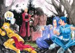 6+boys against_tree alcohol archer arm_guards armor assassin assassin_(fate/stay_night) back beer berserker black_hair blonde_hair blue_hair blush bottle brick_wall cherry_blossoms chopsticks closed_eyes coat comforting dark_skin dark_skinned_male drinking drunk earrings eating everyone faceless fate/stay_night fate_(series) food full_armor grass hair_intakes indian_style jewelry lancer male_focus mask multiple_boys muscle outdoors overcoat profile saber sad shirtless silver_hair sitting smile spiky_hair tears thinking topless traditional_media tree true_assassin