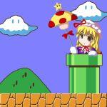 1girl blush clouds crossover deeptake_(artist) eyes fukaiton lowres mario_(series) mushroom nintendo parody sky solo starman_(mario) super_mario_bros. super_mushroom surprised touhou umbrella warp_pipe yakumo_yukari