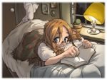 1girl bed bed_sheet bedroom blanket blue_eyes book braid brown_hair cactus fountain_pen glasses lamp legs_up looking_at_viewer lying on_stomach open_book original pen picture_(object) pillow plant potted_plant socks solo twin_braids twintails wallpaper window