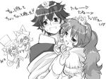 1boy 3girls :d age_difference animal_hat bangs buttons cape capelet cat_hat chibi crown dress earrings elsa_(fushigiboshi_no_futago_hime) embarrassed family father_and_daughter fine fushigiboshi_no_futago_hime gem hand_on_another's_shoulder hands_on_own_face hat heart hida_naria jewelry lace long_hair low-tied_long_hair lowres monochrome mother_and_daughter multiple_girls nalia naughty_face open_mouth parted_bangs pendant ponytail rein short_hair short_twintails siblings simple_background sisters smile spiky_hair spoken_heart standing sweatdrop tied_hair top_hat truth_(fushigiboshi_no_futago_hime) turtleneck twintails upper_body very_long_hair wavy_hair wide-eyed
