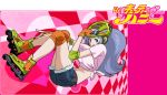 00s 1girl blue_eyes blue_hair cutie_honey cutie_honey_(character) denim denim_shorts elbow_pads female gloves helmet inline_skates kisaragi_honey knee_pads long_hair midriff mochizuki_anko orange_gloves pale_skin re:_cutie_honey roller_skates shorts shorts_under_skirt skates solo