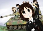 4girls azumanga_daioh black_hair caterpillar_tracks child cross ground_vehicle iron_cross kasuga_ayumu king_tiger long_hair mihama_chiyo military military_uniform military_vehicle mizuhara_koyomi motor_vehicle multiple_girls nazi necktie sakaki skull takino_tomo tank uniform vehicle war world_war_ii