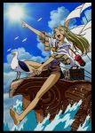 1girl 90s bird bromide game_arts jessica_de_alkirk lowres lunar lunar:_the_silver_star lunar_2:_eternal_blue official_art outdoors seagull sky solo