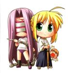 3girls ahoge bakutendou blonde_hair blush buruma chains chibi dougi fate/stay_night fate_(series) fujimura_taiga green_eyes hakama japanese_clothes knife long_hair lowres mask multiple_girls purple_hair rider saber shinai sword weapon