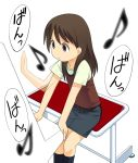 1girl a1 afterimage arcade ayase_ena brown_eyes brown_hair commentary instrument long_hair musical_note pencil_skirt piano quaver simple_background skirt solo stool white_background yotsubato!