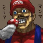 1boy creepy eating lowres male_focus mario mario_(series) mushroom nintendo plumber realistic solo super_mario_bros. super_mushroom teeth ugly what