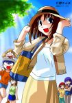 00s 2003 6+girls :d azumanga_daioh blue_eyes blue_hair brown_hair dappled_sunlight dated everyone glasses hat holding kagura kagura_(azumanga_daiou) kasuga_ayumu long_hair looking_at_viewer mihama_chiyo mizuhara_koyomi multiple_girls number open_mouth outdoors pants purple_hair redhead sakaki shirt short_hair shorts skirt smile standing sun_hat sunlight sweatdrop takino_tomo tank_top very_long_hair