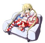 1girl blonde_hair blush chin_rest couch female green_eyes hayate_no_gotoku! kobayashi_tetsuya midriff navel no_shoes off_shoulder patterned_legwear pillow sanzen'in_nagi shirt simple_background sitting skirt solo striped striped_legwear thigh-highs toeless_legwear twintails two-tone_stripes white_shirt wink yes-no_pillow