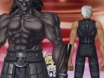 1girl 2boys ahoge archer bad_anatomy bad_proportions berserker blonde_hair chibi_inset clenched_hands dark_skin dark_skinned_male fate/hollow_ataraxia fate/stay_night fate_(series) game_cg giant heterochromia multiple_boys muscle poorly_drawn saber size_difference sleeveless standing takeuchi_takashi