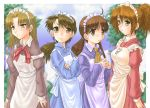 >:( 4girls :/ ahoge apron ascot bad_anatomy blue_dress blue_sky blush bow bowtie brown_eyes brown_hair cowboy_shot cravat crossed_arms dog_tags dress futaba_channel green_eyes hidoi high_ponytail jewelry kudoi long_sleeves looking_at_viewer low_twintails maid maid_apron maid_headdress medoi modoi multiple_girls necklace nijiura_maids o-ring off_shoulder pendant plant ponytail poorly_drawn purple_dress serious short_hair sky smile steepled_fingers tree twintails wavy_mouth