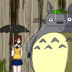 1girl crossover kusakabe_satsuki lowres namesake parody rain studio_ghibli tonari_no_totoro totoro tsukihime umbrella yumizuka_satsuki