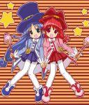 2girls fine fushigiboshi_no_futago_hime haikuro hand_holding hat interlocked_fingers multiple_girls pantyhose red_skirt rein skirt top_hat wand