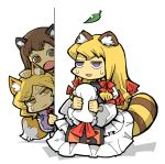 cat_ears chen fox_ears fox_tail hat hounori leaf leaves raccoon_ears raccoon_tail sweatdrop tail touhou yakumo_ran yakumo_yukari