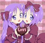 2girls bad_id blush bow cheek_to_cheek chocolate dress hair_bow heart hiiragi_kagami hiiragi_tsukasa holding holding_gift incoming_gift long_hair lucky_star maruki_(punchiki) multiple_girls open_mouth purple_hair short_hair siblings smile twins valentine
