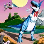 1girl ? animalization cirno dinosaur hakurei_reimu nochi parody pteranodon pterosaur touhou tyrannosaurus_rex yagokoro_eirin