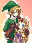 1boy 1girl blonde_hair blue_eyes blush couple crown dress ear_piercing earrings elbow_gloves finger_pointing gloves green_eyes grin hat hetero holding jewelry link long_hair looking_at_viewer nintendo pauldrons piercing pointing pointing_at_viewer pointy_ears princess_zelda satou_kibi short_hair sketch smile the_legend_of_zelda the_legend_of_zelda:_twilight_princess tiara triforce tunic you_gonna_get_raped young_zelda