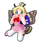 1boy antennae fairy full_body insect_wings kitsupon male_focus mary_janes pink_shoes shimon shimotsuma shoes simple_background solo thigh-highs trap white_background wings