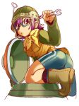 1girl 90s ass boots chrono_(series) chrono_trigger glasses helmet lowres lucca_ashtear neckerchief purple_hair short_hair solo violet_eyes wrench