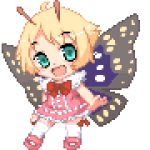 1girl antennae blonde_hair fairy lisula lowres mary_janes pink_shoes pixel_art shimon shimotsuma shoes solo transparent_background wings