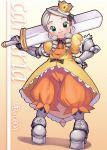 00s 1girl 2005 armor armored_dress atlus character_name cosplay dated dress gradriel_de_valendia gradriel_de_valendia_(cosplay) kanaria kei_jiei orange_(color) orange_background parody princess_crown rozen_maiden solo yellow_dress