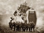 6+boys army band_of_brothers beam_rifle city crossover energy_gun epic gun gundam mecha military military_uniform mobile_suit_gundam monochrome multiple_boys parody photo photoshop realistic ruins rx-78-2 sepia shield soldier uniform wallpaper weapon world_war_ii