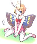 1boy antennae fairy full_body insect_wings kimarin male_focus mary_janes pink_shoes shimon shimotsuma shoes solo thigh-highs trap white_background wings wink