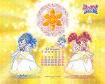 2girls calendar december dress fine fushigiboshi_no_futago_hime multiple_girls pumo rein tiara white_dress