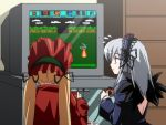 00s 2girls :o advance_wars angel_wings back blonde_hair bonnet bow controller famicom flower from_behind game_console game_controller gothic_lolita hairband lolita_fashion lolita_hairband long_hair multiple_girls nes open_mouth pink_eyes playing_games profile rose rozen_maiden shinku silver_hair suigintou surprised sweatdrop television twintails video_game wings